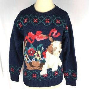 Vintage wool knit sweater puppies dog basket bow